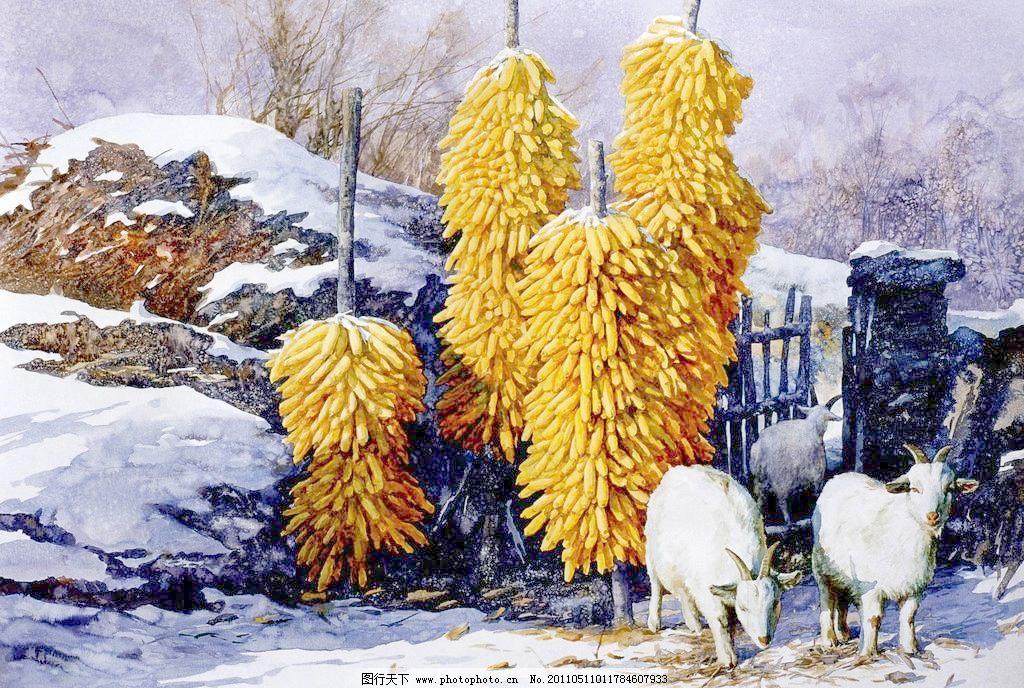归栏模板下载 归栏 水彩风景画 农村风景画 冬天雪地 民房篱笆 油画