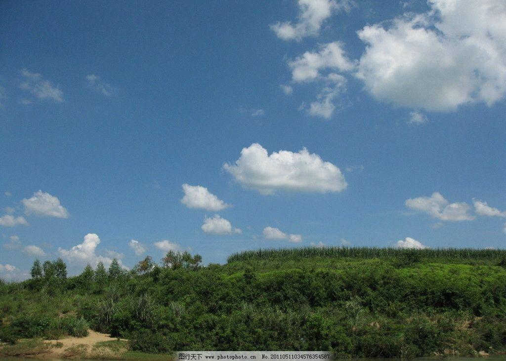 蓝天白云 白云 蓝天 绿树 草地 田园风光 自然景观 摄影 180dpi jpg