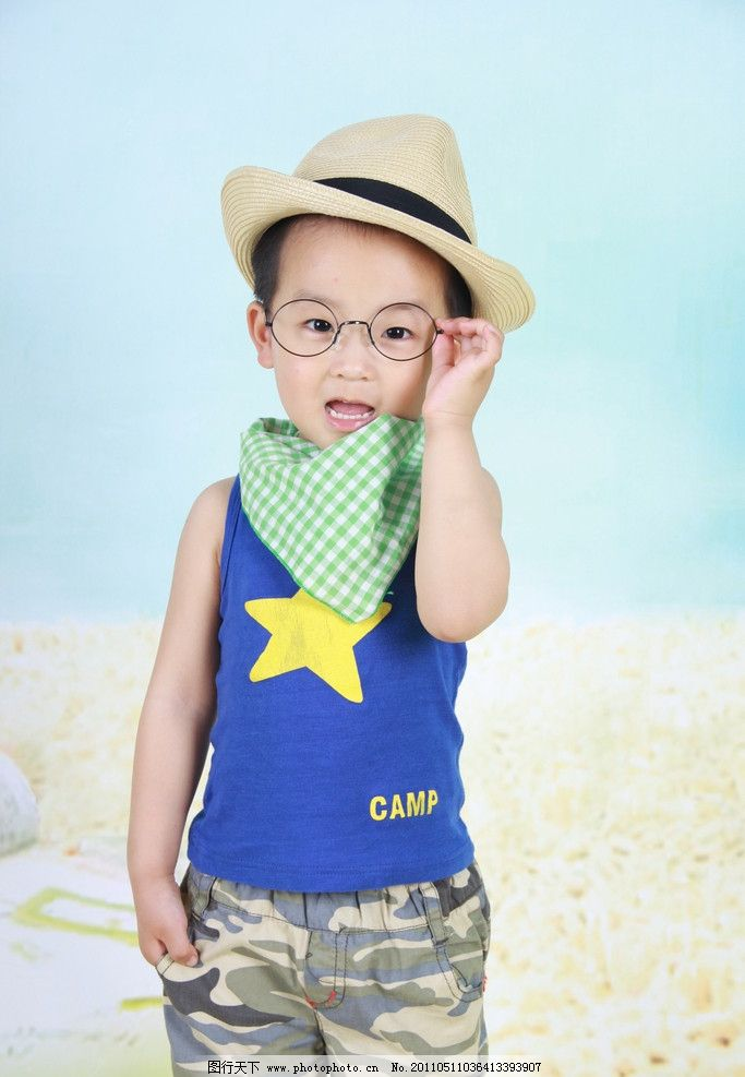 酷宝宝 眼镜宝宝 草帽宝宝 宝宝3岁半 酷哥 小帅哥 可爱的宝宝 儿童