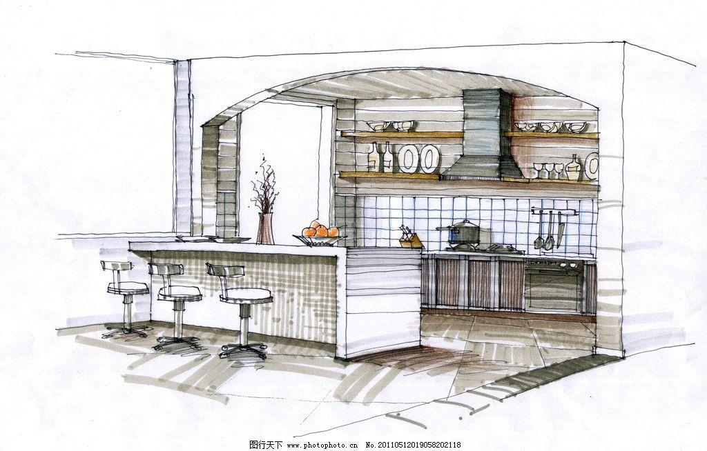 厨房手绘图片