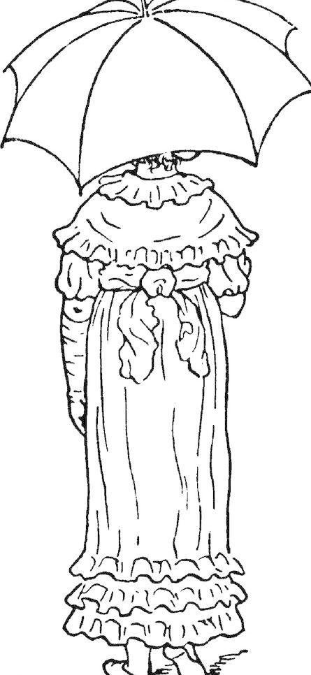 欧式 原版 花纹 钢笔画 插画 黑白 人物 打伞 雨伞 裙子 西式 欧式