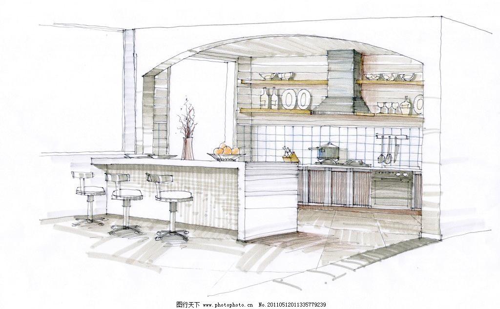 廚房手繪圖片_室內設計