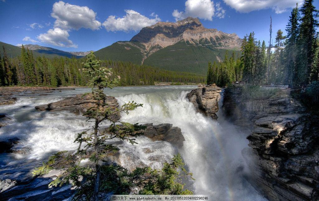 阿萨巴斯卡瀑布 加拿大风景 树林 山景 河流 急流 蓝天白云 图库 国外