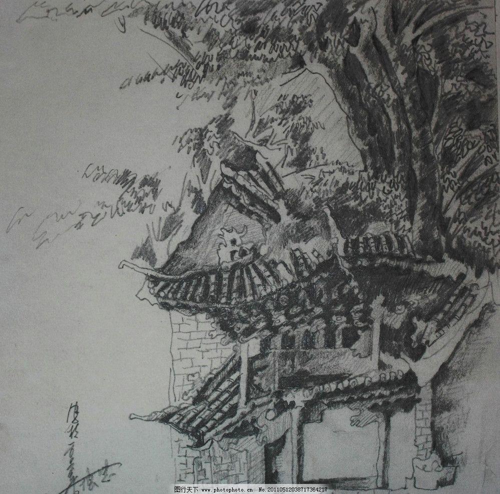 道观群 速写作品 大理 道观 树 房子 古建筑 风景速写 风景 古树 素描