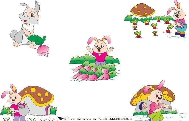 蘑菇房与兔子图片