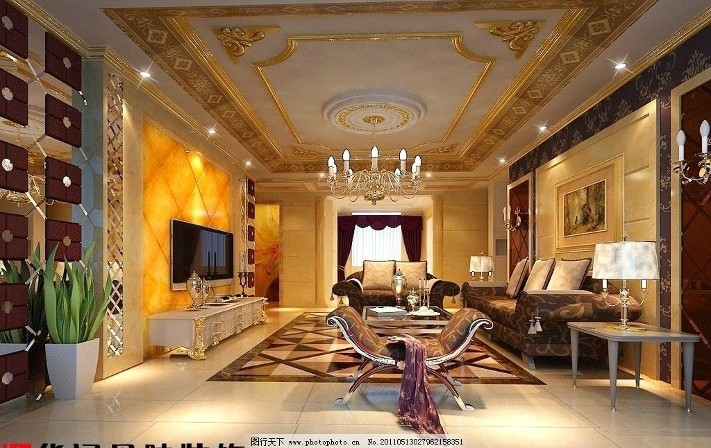 客厅装饰 欧式沙发 吊顶 盆栽 电视 室内设计 环境设计 设计 72