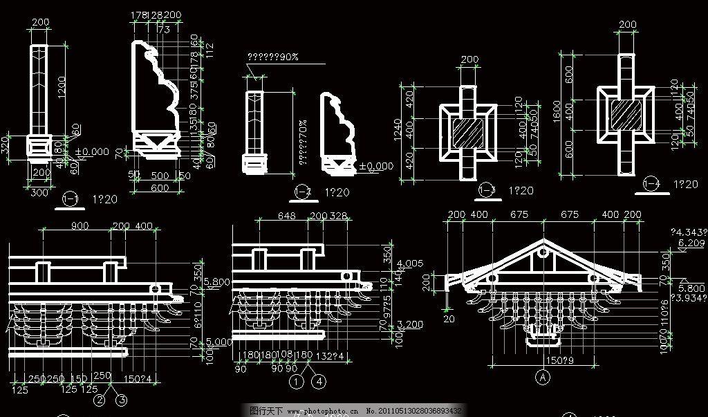 牌楼 图纸 平面图 装修 装饰 施工图 室内设计 古建筑 仿古