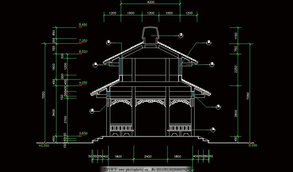 cad dwg 图纸 平面图 素材 装修 装饰 施工图 室内设计 古建筑 廊架