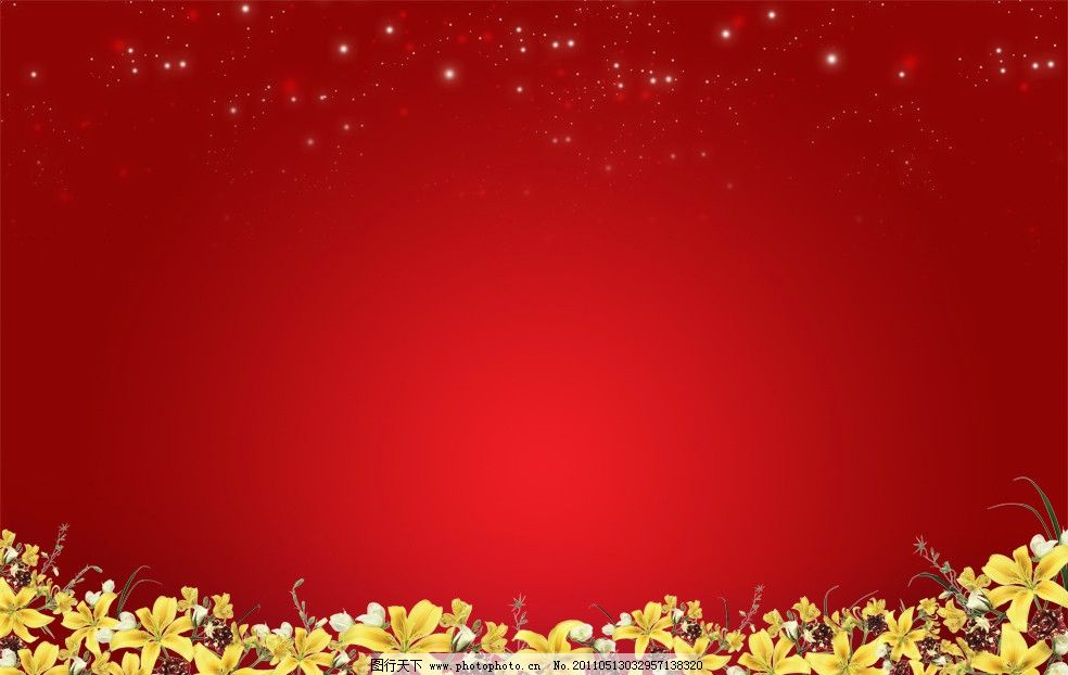 红底鲜花舞台背景图片