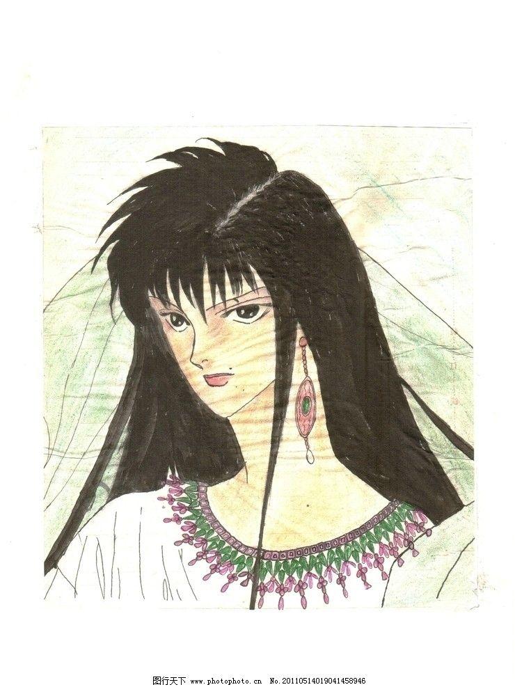 手绘卡通 公主 绘画书法