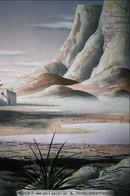 水风风景 水风风景免费下载 色彩风景画 色彩画 山 山水画 装饰画