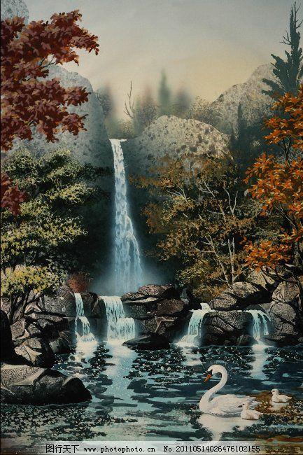 流水风景免费下载 河边 流水 小天鹅 装饰画 装饰绘画 流水风景 风景