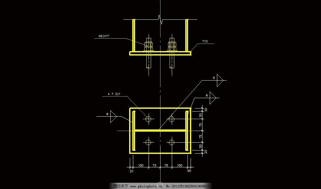 铰接柱脚节点 cad 图纸 平面图 素材 装修 装饰 施工图 钢结构 网架