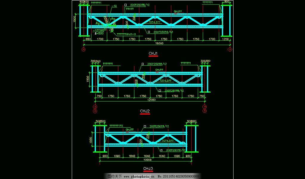 钢桁架 图纸 平面图 装修 装饰 施工图 钢结构 网架 节点 钢骨