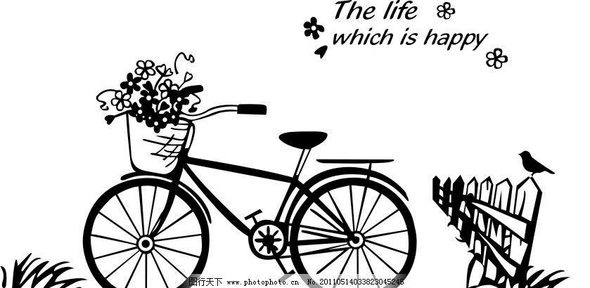 自行车 小鸟 矢量素材
