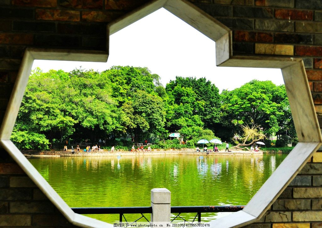 广州风景 广东 广州 流花湖公园 蓝天 白云 建筑 树木 倒影 风景 广东