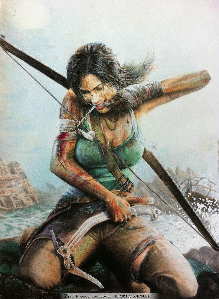 彩铅手绘 动漫 女性 猎手
