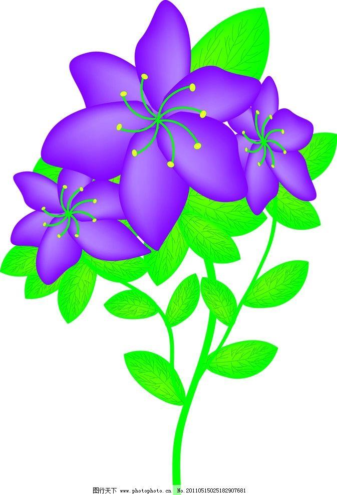 紫色花 矢量花 绿色 绿叶 树叶 叶子 花素材