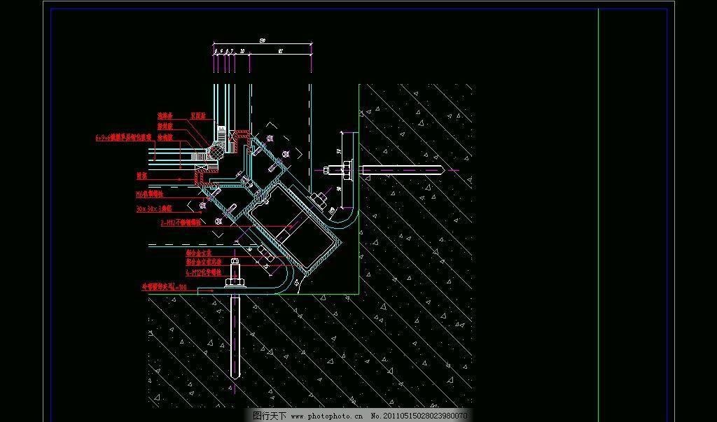 玻璃幕墙节点 cad 图纸 平面图 素材 装修 装饰 施工图 钢结构 网架