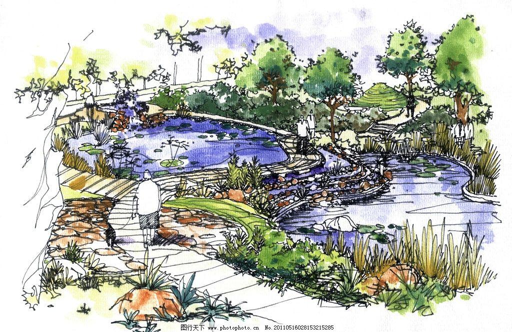 手绘景观 小区景观 景观设计