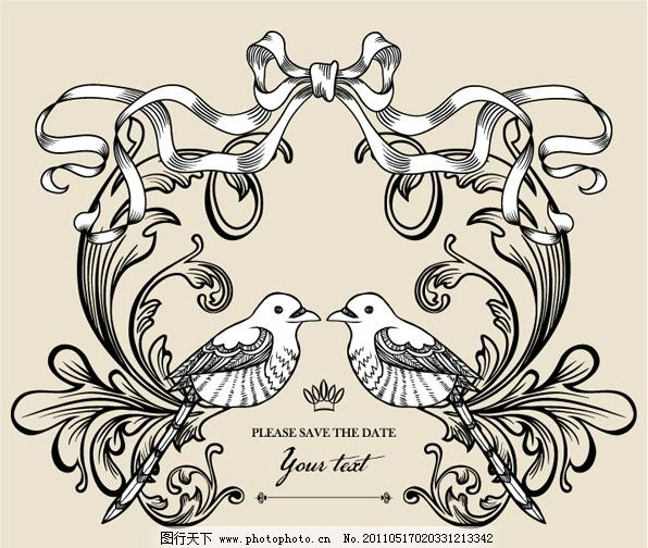 欧式花纹边框 花边 小鸟 华丽 线条 相框 古典 传统 丝带 蝴蝶结
