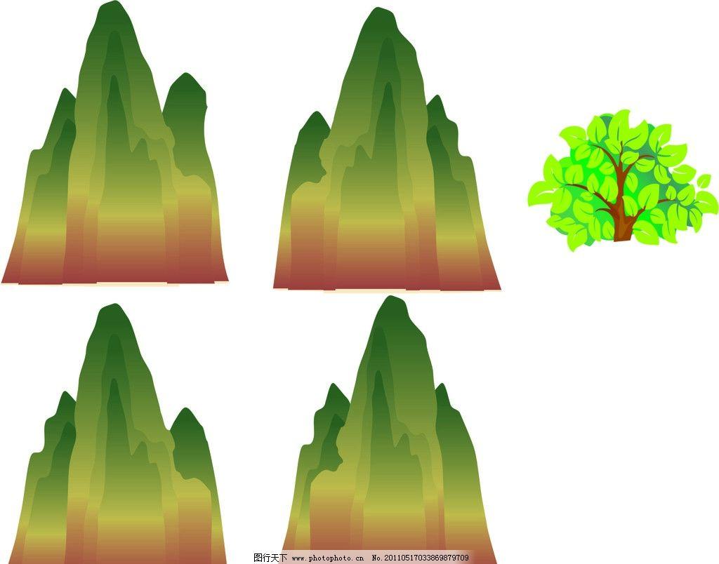 山 树叶 树 cdr 矢量 矢量图 矢量素材 其他矢量