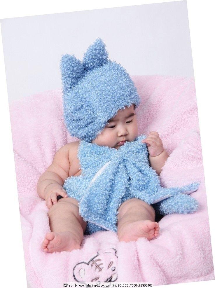 可爱宝宝 宝贝 快乐 蓝色帽子 小女孩 儿童幼儿 人物图库 摄影