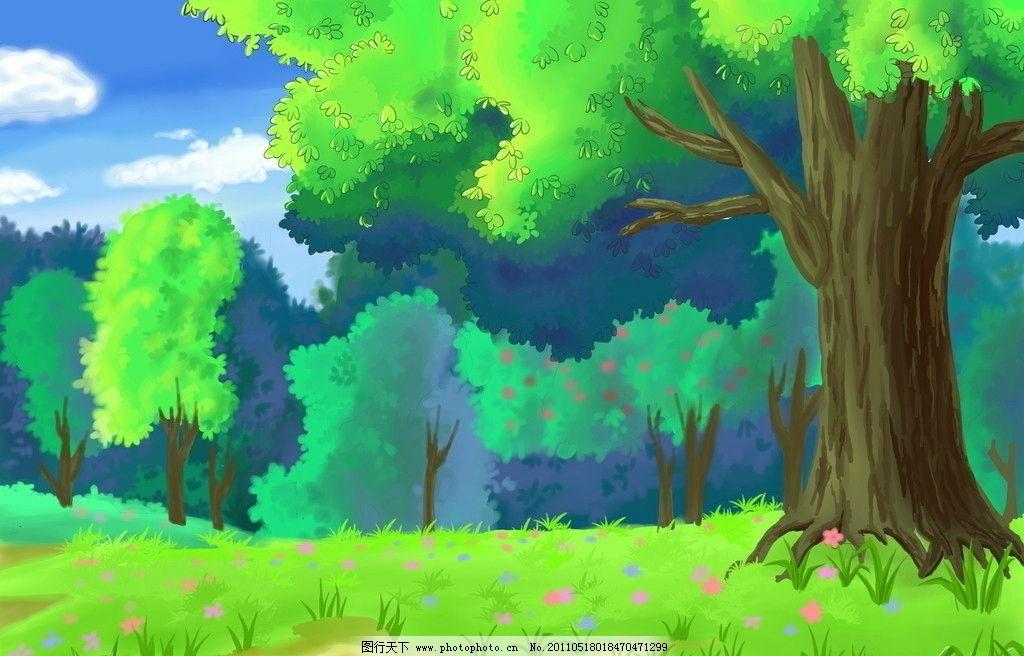 植物 手绘植物 树林 卡通风景 风景漫画 动漫动画 设计 72dpi jpg