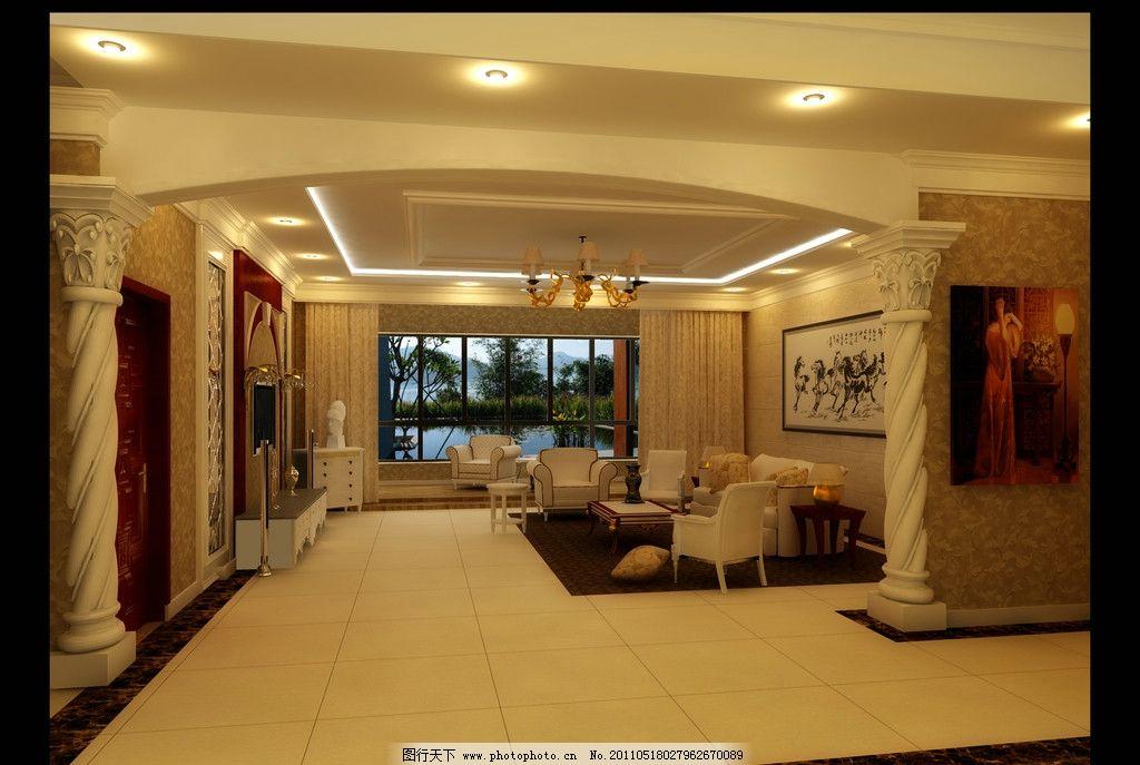 罗马柱 挂画        客厅效果图 欧式 沙发 电视背景墙 室内设计 环境