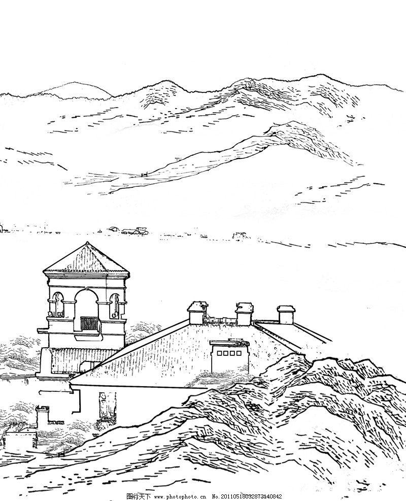 线描山水和别墅房子 别墅 山水 线描 风景 psd分层素材 源文件 300dpi