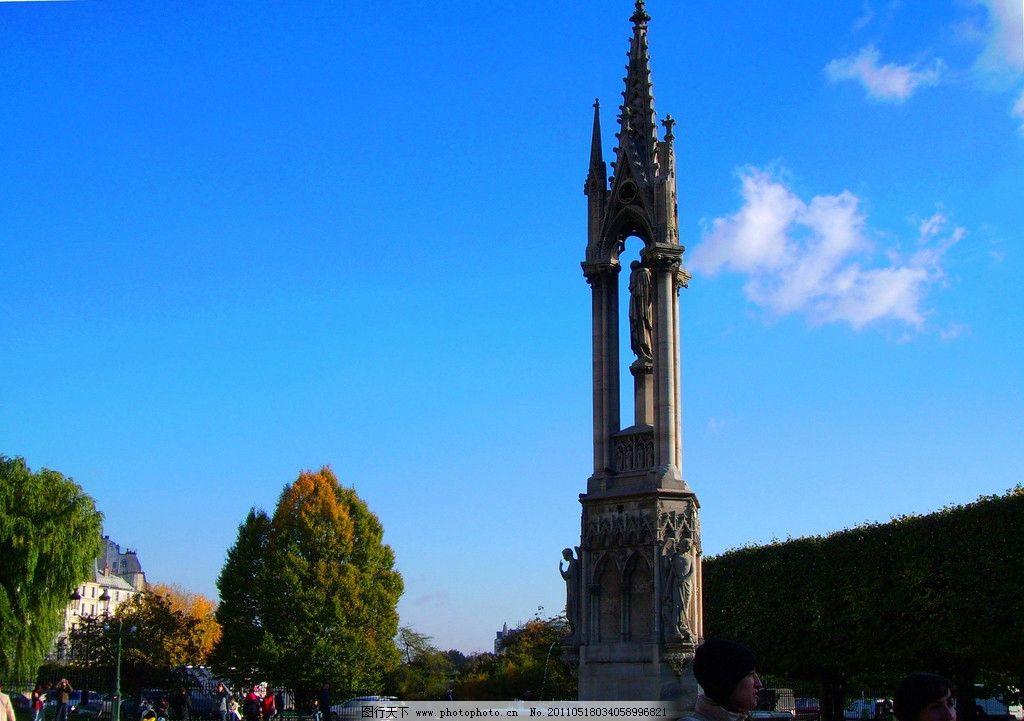 欧洲 法国 巴黎 巴黎圣母院 建筑 古建筑 蓝天 白云 风景 欧洲风光