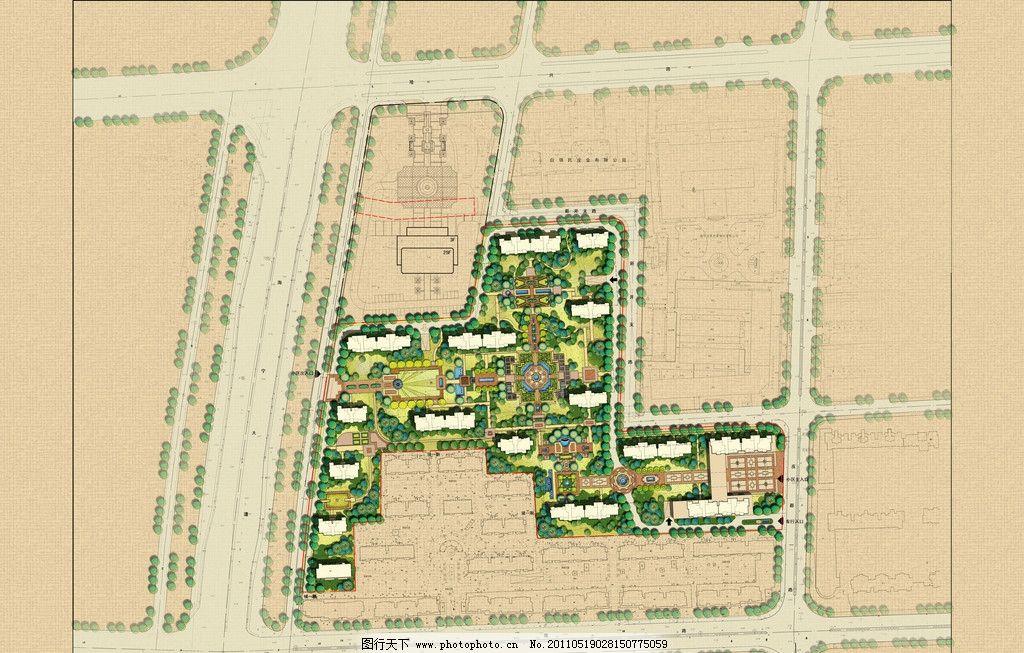 景观设计总平面图 环境艺术 景观彩色总图 小区设计 园林 欧式 规划