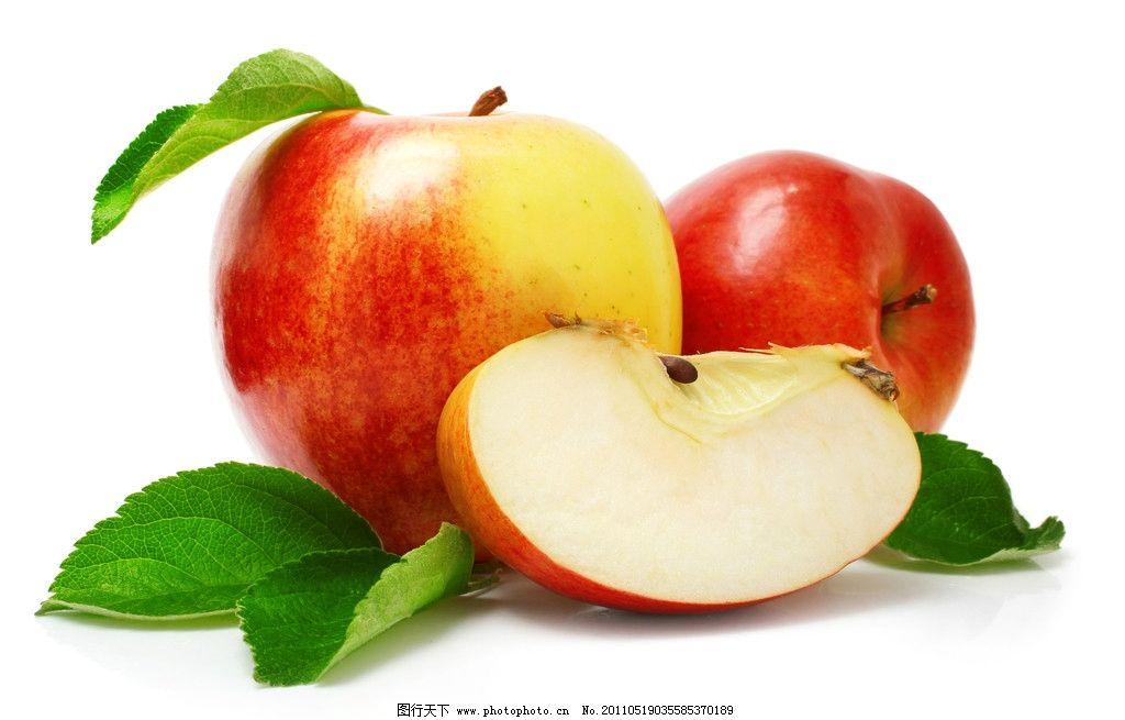 生物世界 水果  苹果 新鲜水果 新鲜苹果 绿叶 诱人苹果 切开的苹果图片