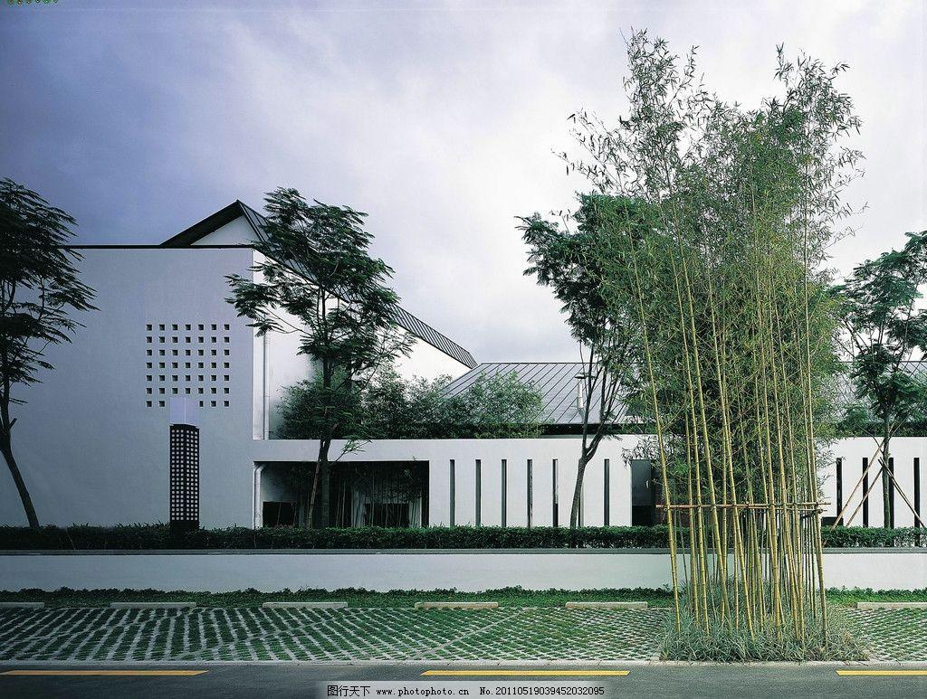 中式别墅 院墙 院子 院落 中式建筑 中式符号 竹子 户外 休闲