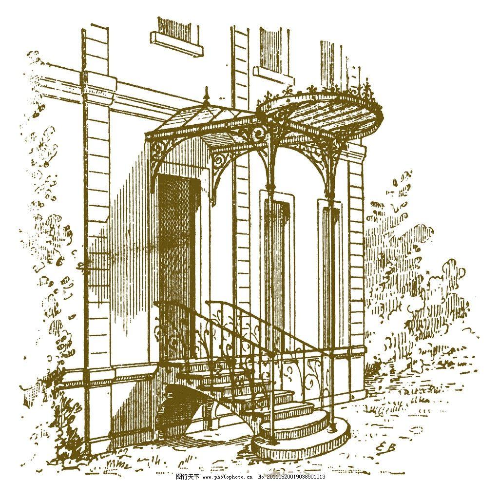 欧式复古手绘建筑图片