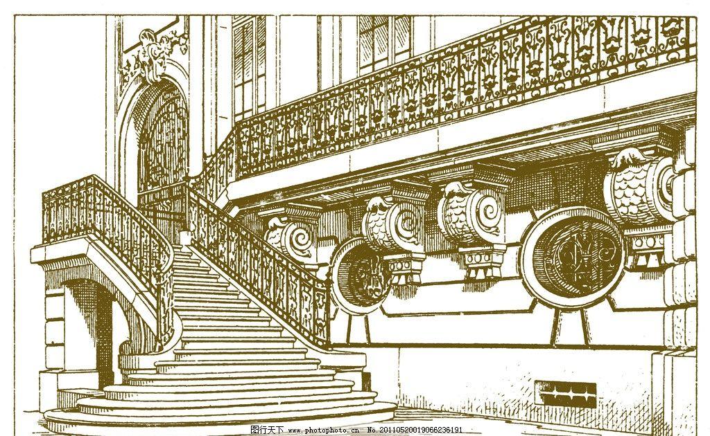 手绘欧式复古建筑图片