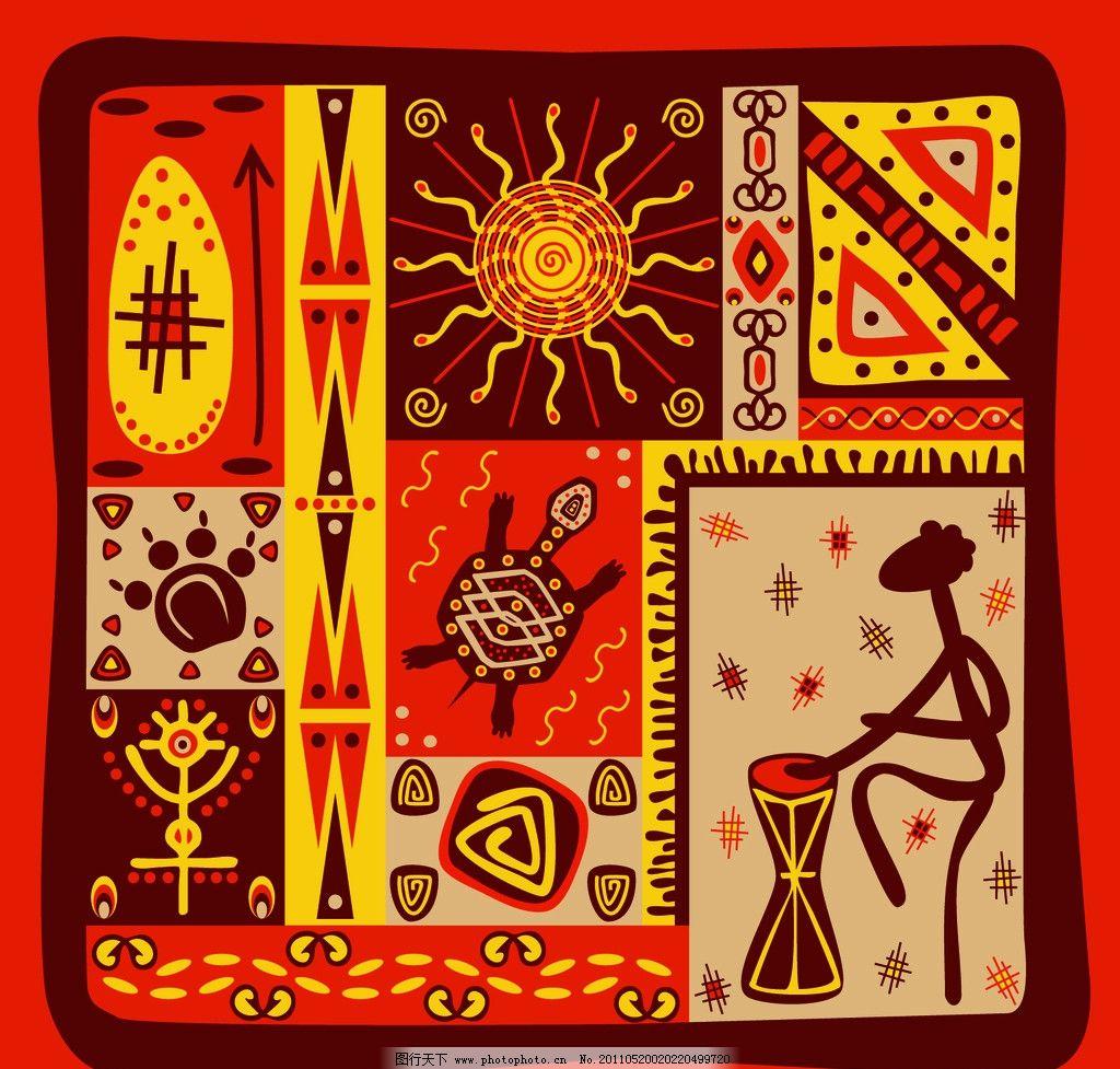 手绘花纹 乐器 少数民族 花纹 花边 布纹 方块 圆点 潮流装饰画 人物