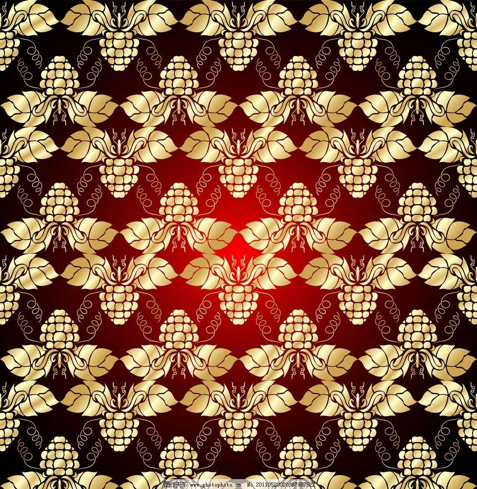 金色花纹 无缝花纹背景 金色花边 曲线 葡萄藤 金黄色花纹花边 欧式