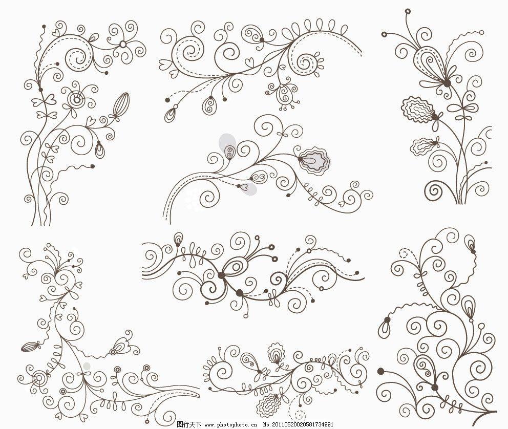 古典花纹花边框欧式花纹装饰矢量图片
