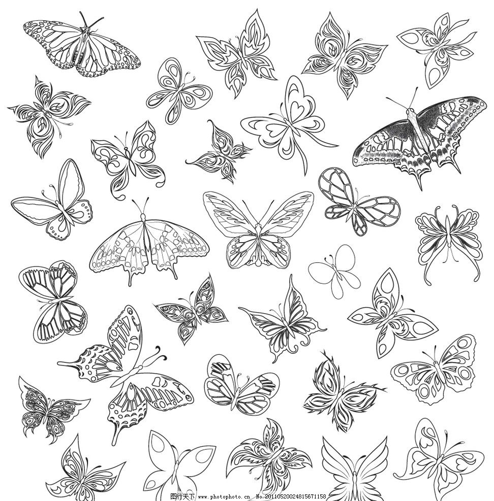 手绘花样蝴蝶 蝴蝶 手绘 黑白 矢量 昆虫 生物世界 eps