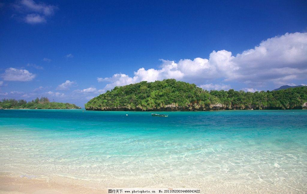 海滩 风景 海水 小岛 岛屿 碧绿 海面 自然 山水 景观 海岛 夏天 夏季