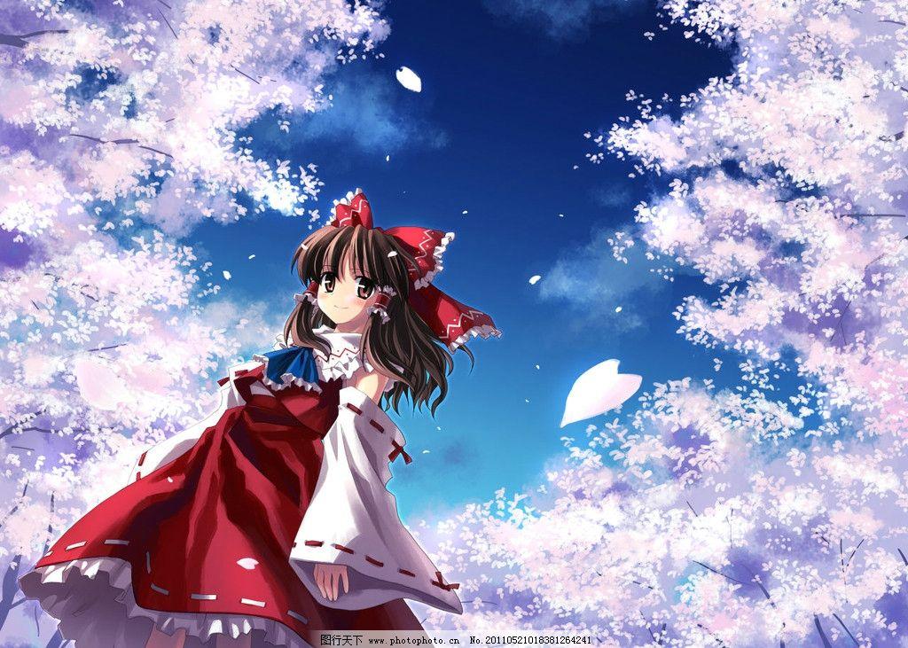 樱花下的女孩图片