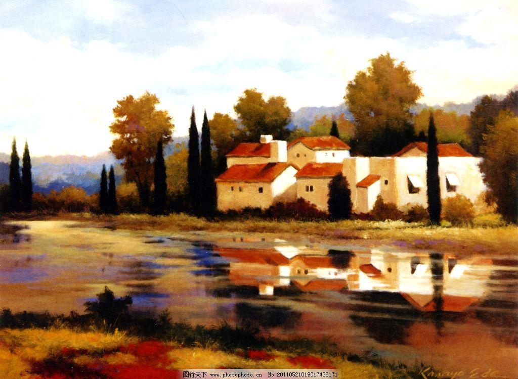 河边村落 风景油画 外国油画 写真油画 田野风景 农村风景 河边民居