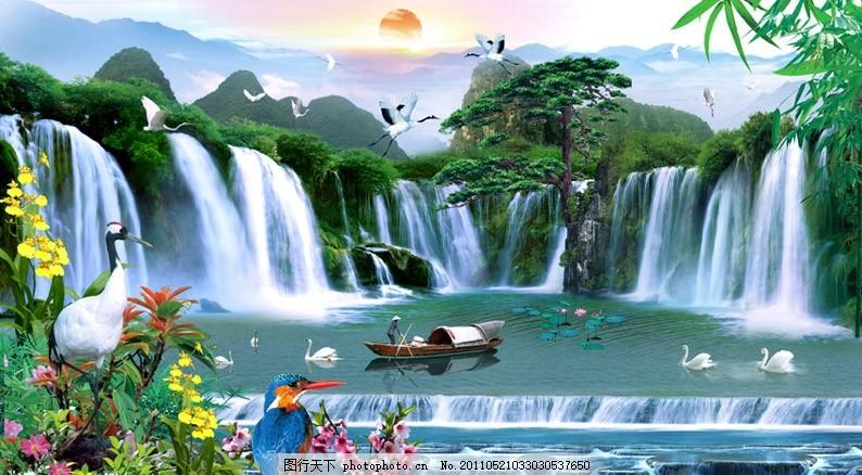 风景画 山水风景 山水 风景 仙鹤 松鹤 松树 高山流水 山水风景画