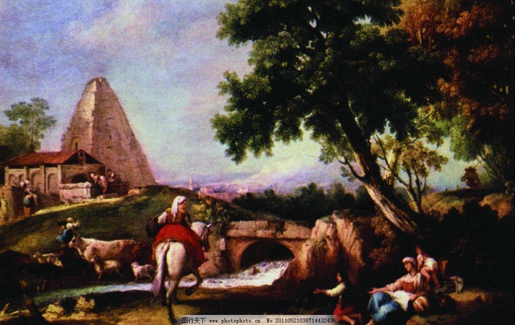 风景油画 风景 油画 人物 动物 马儿 房子 小树 美术绘画 文化艺术 摄