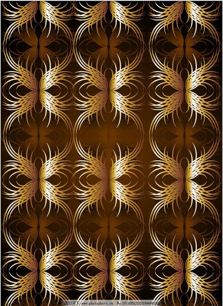 金色蝴蝶结欧式花纹底纹图片