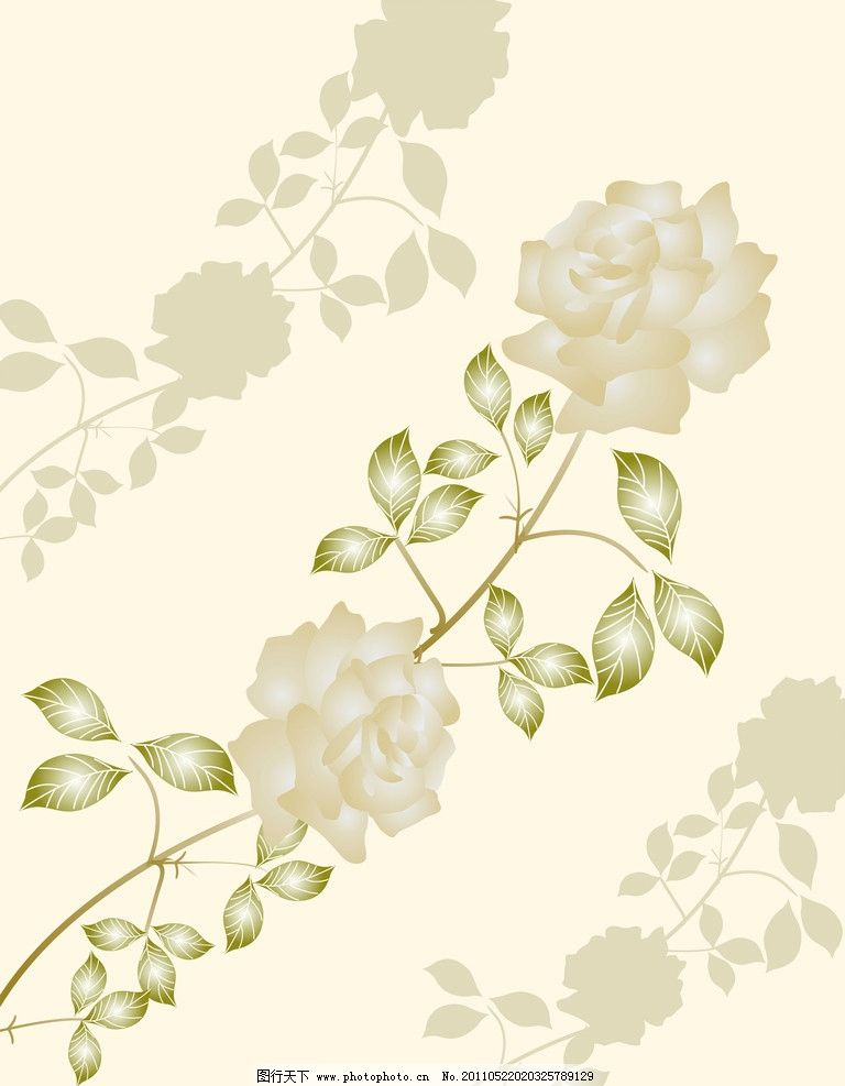 玫瑰花 玫瑰 黄色 树叶 花边花纹 底纹边框 设计 117dpi jpg