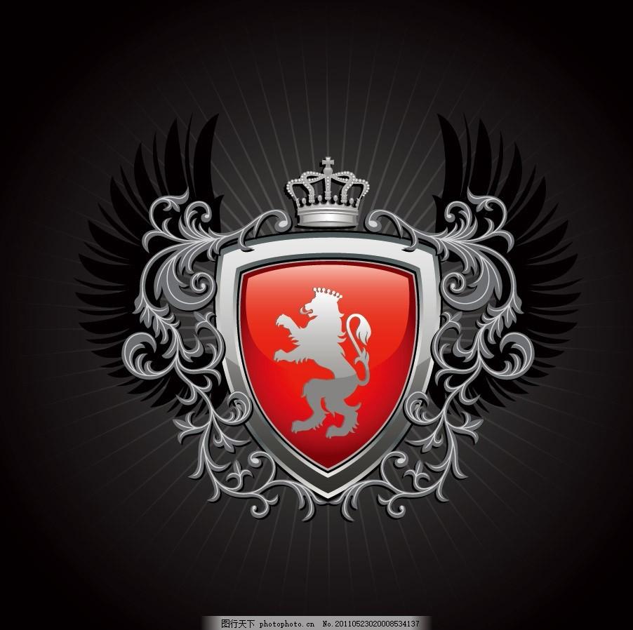 欧式花纹花边皇冠盾牌