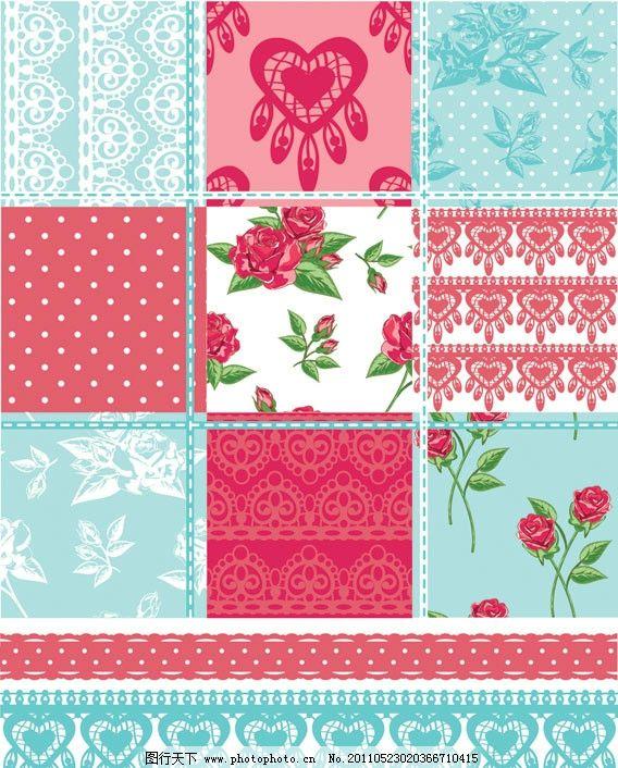 可爱 拼布 花卉 花朵 花纹 玫瑰花 绿叶 布纹 装饰花 二方连续 纹样