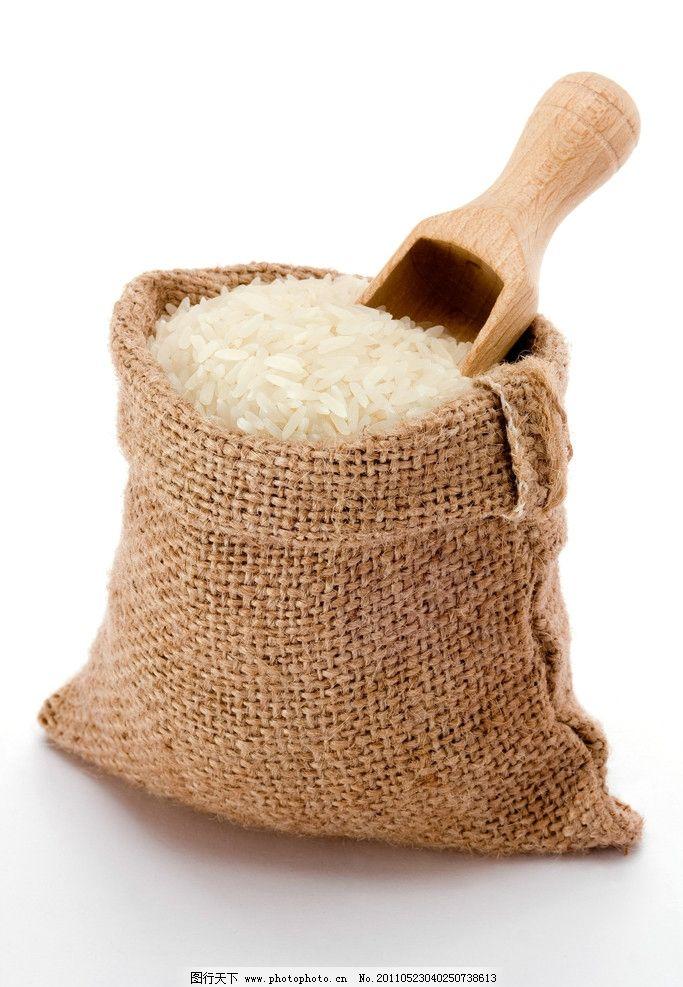 一袋大米 米 粮食 大米 水稻 农作物 收获 主食 食品 传统美食 餐饮图片